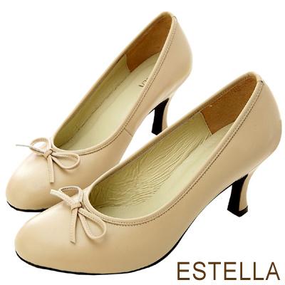 ESTELLA-台灣純手工-小羊皮滾邊蝴蝶結高跟鞋-可可