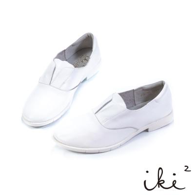 iki2 漫步英倫-真皮休閒舒適平底鞋-白