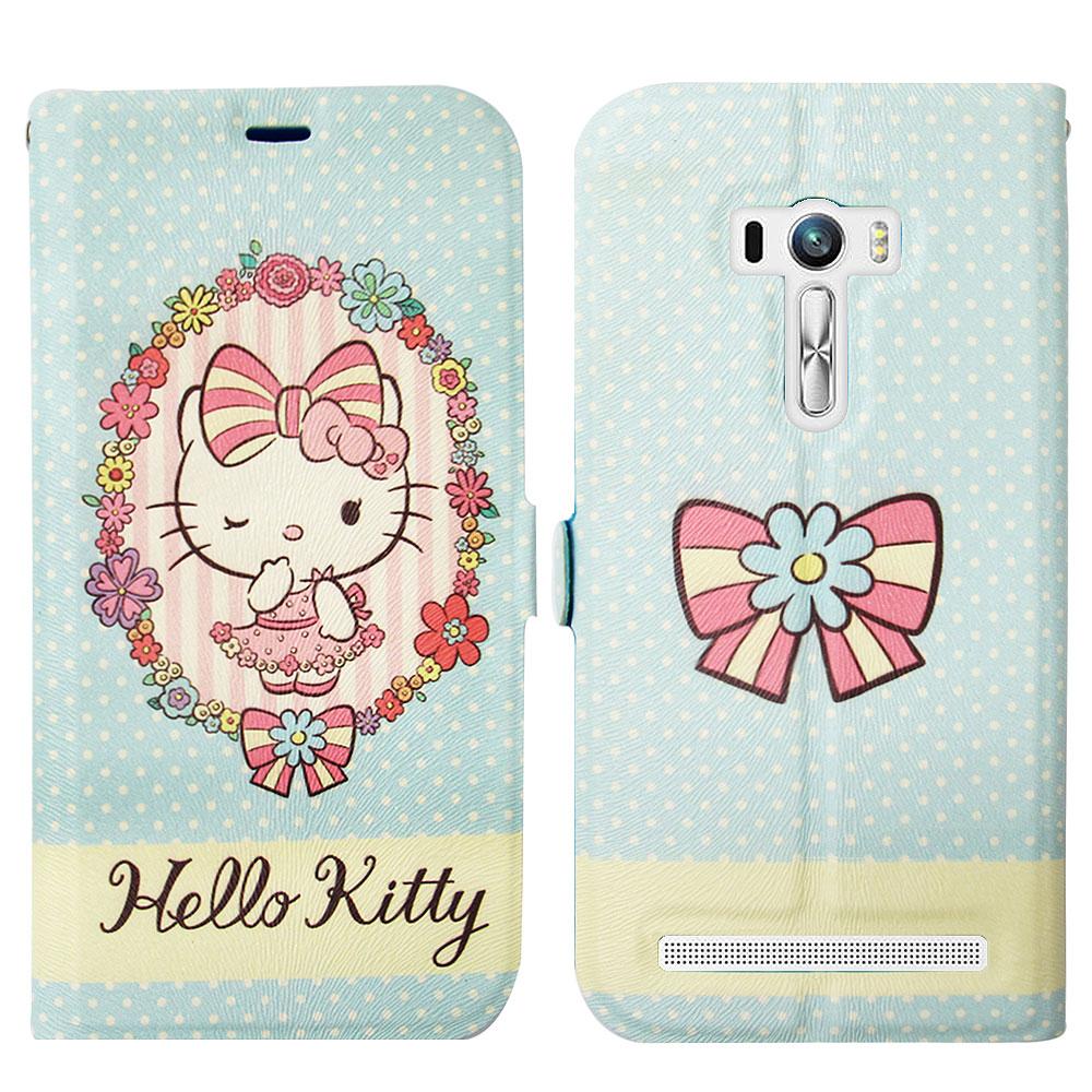 Hello Kitty貓 ASUS Zenfone Selfie 磁力書本皮套(水玉花邊)