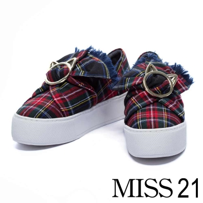 休閒鞋-MISS-21-貓咪金屬釦大蝴蝶結格子布厚