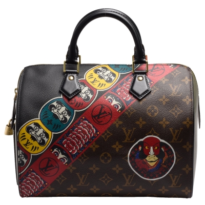 LV M 43505  經典Speedy  30  Monogram帆布配彩色EPI皮革手提包