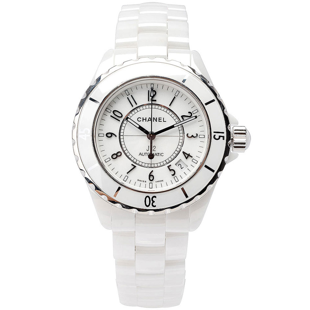 CHANEL 香奈兒 J12 H0970 陶瓷機械錶-白/38mm