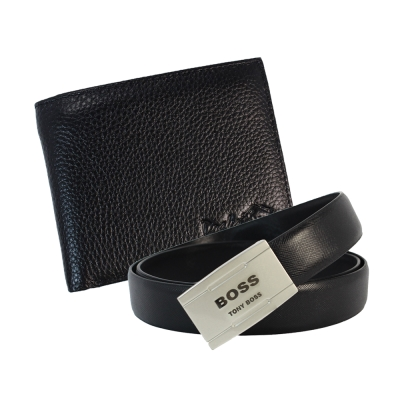 DRAKA 達卡 - 牛皮短夾+ 真皮皮帶組-41TBL3208