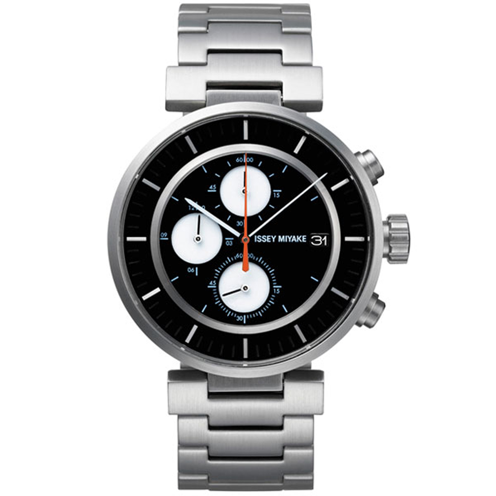 ISSEY MIYAKE三宅一生 W自信駕馭三眼計時手錶-黑X銀/43mm