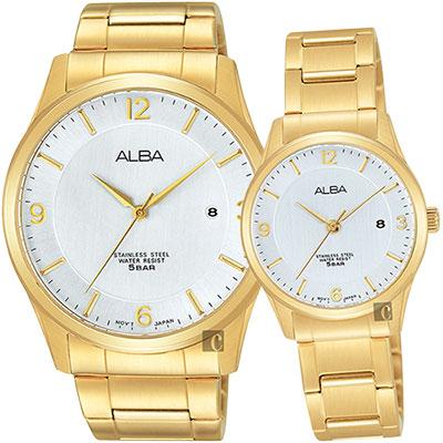 ALBA 時尚東京限定石英對錶(AS9C16X1+AH7L70X1)-銀x金