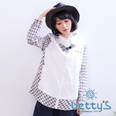betty's貝蒂思 日系格子拼接襯衫(白色)