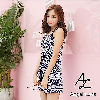 【AngelLuna】滿版圖騰三件式比基尼泳裝(日本直送3-10天到貨)