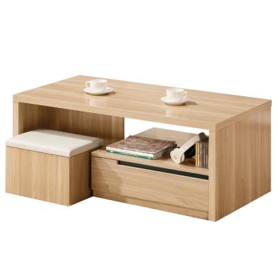 品家居 卡亞4尺大茶几(附收納椅凳2入)-120x60x50.9cm-免組