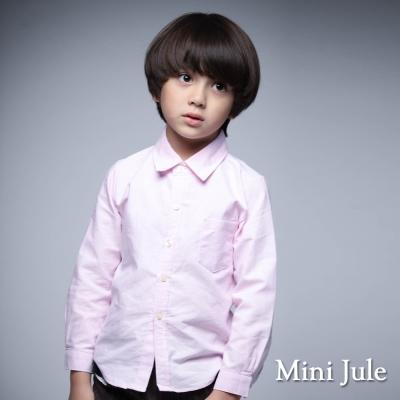 Mini Jule 童裝-襯衫 純色單口袋長袖襯衫(粉)
