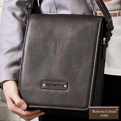 Roberta Colum - 時尚質感鉚釘軟牛皮實用長方形斜背包(小)-共<b>2</b>色