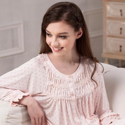 羅絲美睡衣 - 點點蜜糖天使長袖褲裝睡衣 (粉橘色)