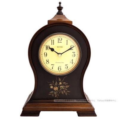 RHYTHM日本麗聲 古典實木鑲花整點報時座鐘/33cm