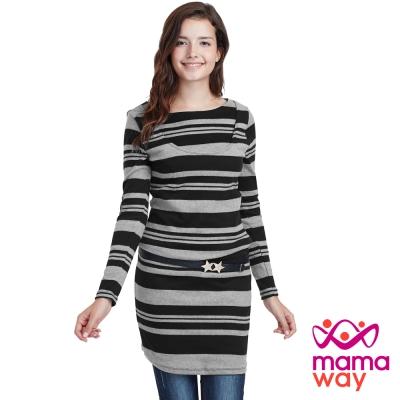 Mamaway 橫紋孕哺洋裝(共二色)