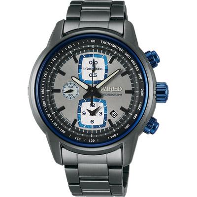WIRED Reflection 時空跳躍計時碼錶(AF8U19X1)-藍圈x灰/43mm