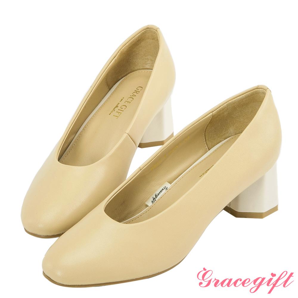 Grace gift-全真皮素面拼接造型中跟鞋 杏