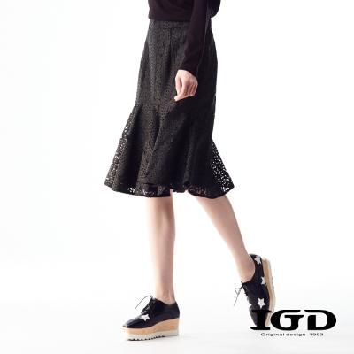 IGD英格麗 立體蕾絲簍空剪接荷葉及膝中長裙-黑色