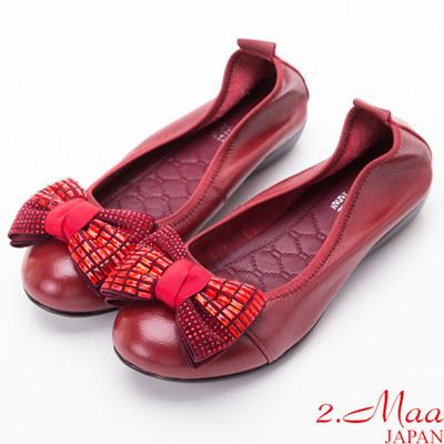 2.Maa-優雅亮片蝴蝶結娃娃鞋-嫣紅