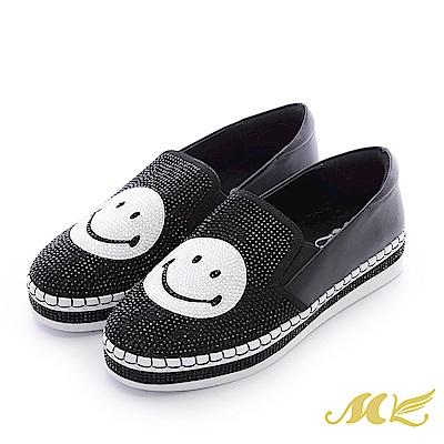 MK-晶鑽真皮-微笑水鑽馬克厚底懶人鞋-黑色