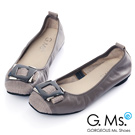 G.Ms. MIT系列-拼接鱷魚紋金屬飾釦牛皮娃娃鞋-高貴灰