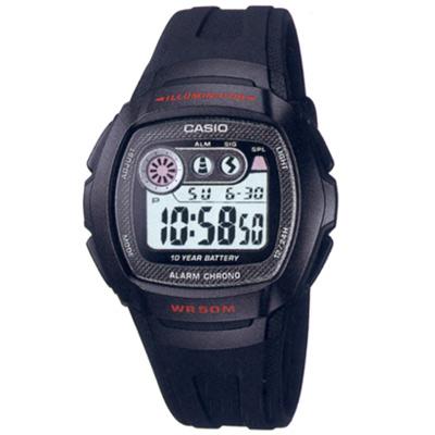 CASIO 穿梭時空兩地時間電子錶(W-210-1C)-黑框