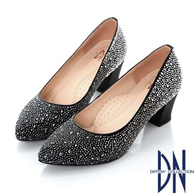 DN 名媛派對 璀璨迷人水鑽尖頭跟鞋-黑