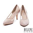 高跟鞋 HELENE SPARK 華麗時尚幻彩晶鑽異材質拼接尖頭高跟鞋-米