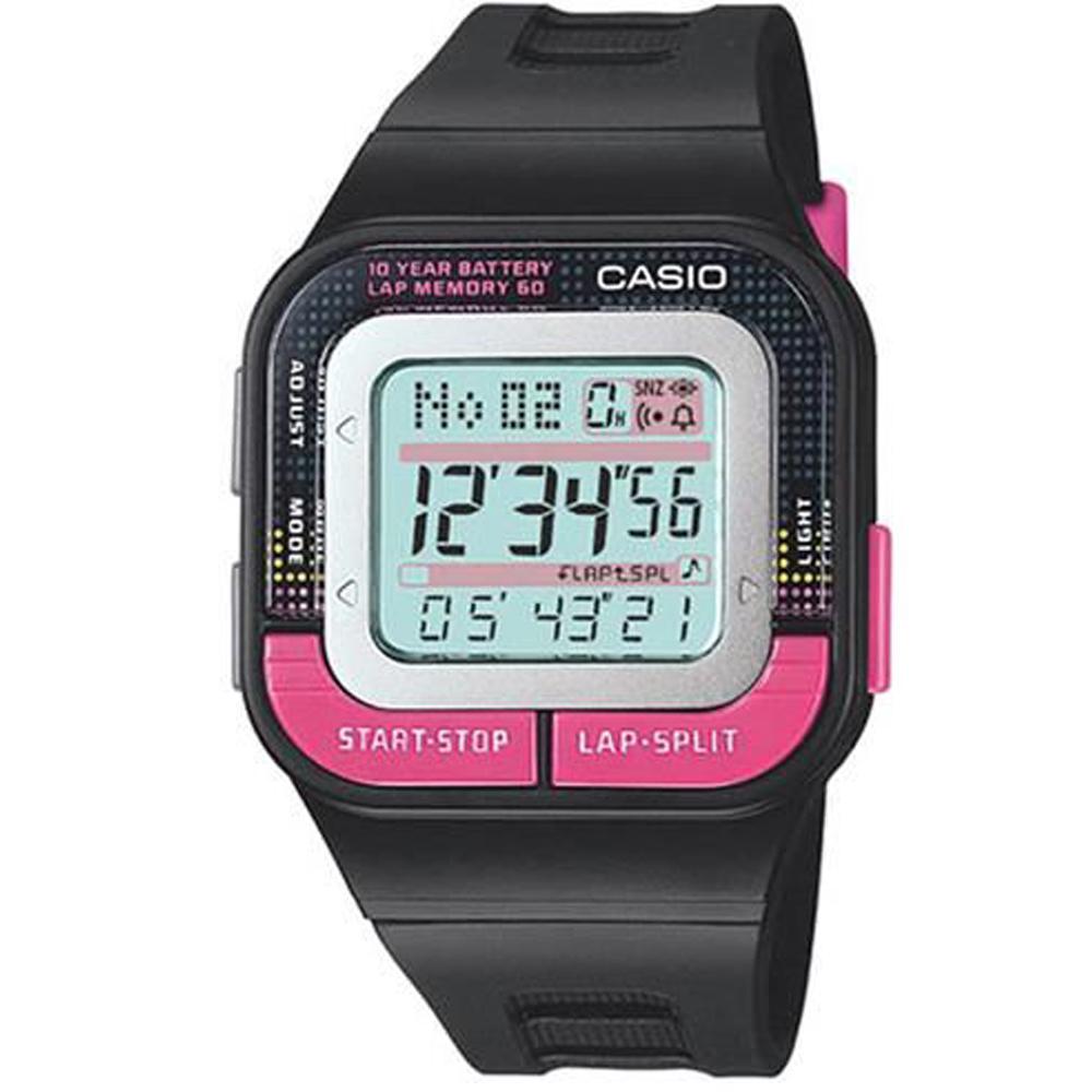 CASIO 10年電力慢跑數位運動風錶(SDB-100-1B)-黑x紅按鍵/43.9mm