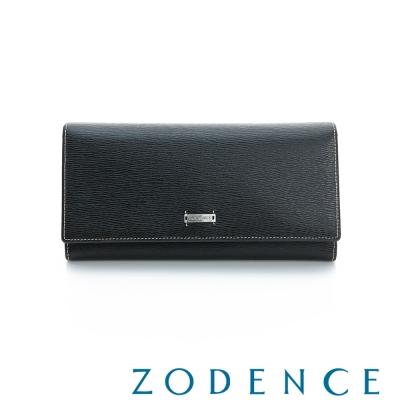 ZODENCE-MAN-紳士系列樹枝紋多卡層長夾-黑