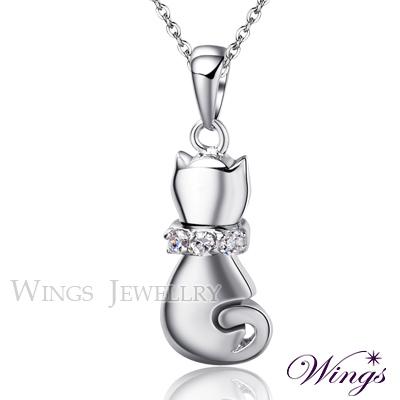 Wings 甜蜜小貓 甜美方晶鋯石精鍍白K項鍊