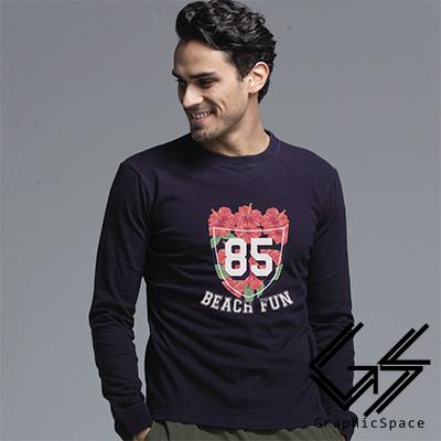度假花朵85號磨毛水洗長袖T恤 (共三色)-GraphicSpace