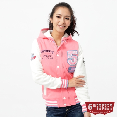 5th STREET 外套  大5貼布繡鋪棉棒球外套-女-粉紅