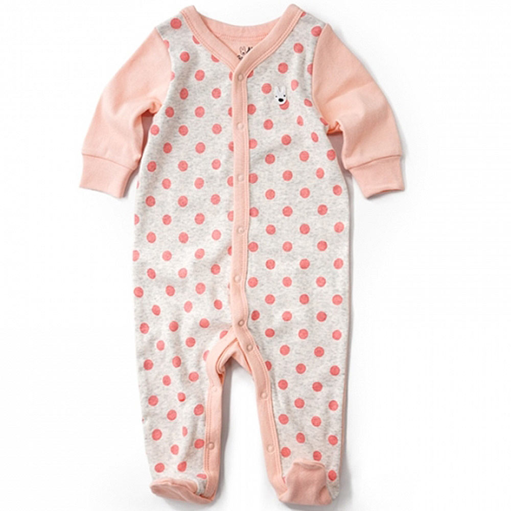 GL法國 優質萌系童趣灰底粉紅點點長袖連身衣包屁衣