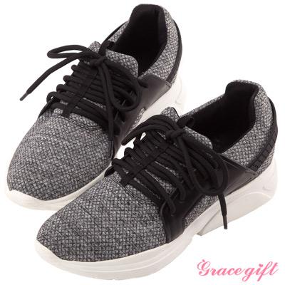 Grace gift X Wei唐葳-織紋時尚綁帶運動休閒鞋 灰