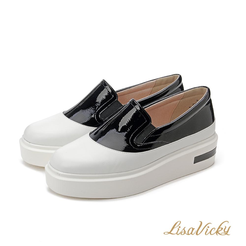 LisaVicky撞色拼接鬆緊帶厚底增高鞋-黑白色