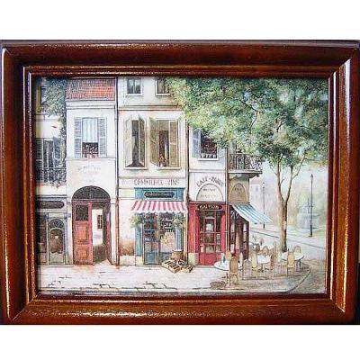 開運陶源【歐洲街景1】原木鑰匙盒壁飾