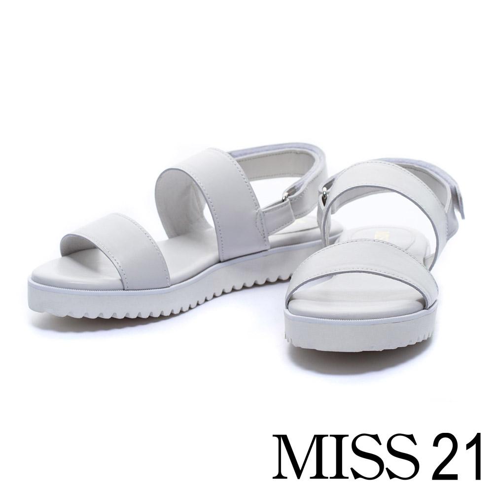 涼鞋 MISS 21 夏日涼感MIT一字帶羊皮休閒平底涼鞋-灰