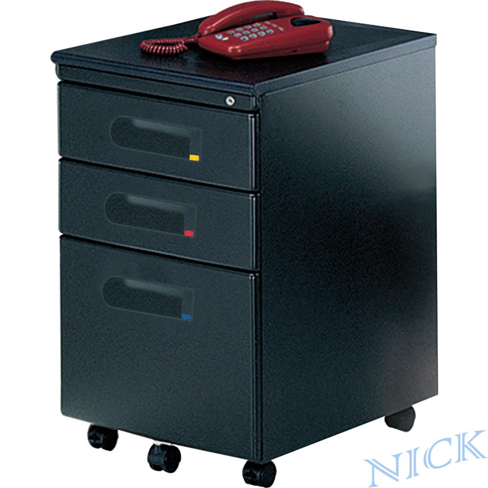 NICK 經濟型黑色粉體烤漆鋼製三抽活動櫃