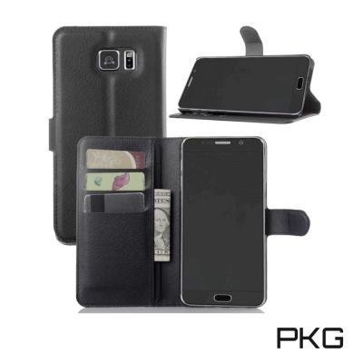 PKG Samsung NOTE5 側翻式皮套經典皮革-黑色