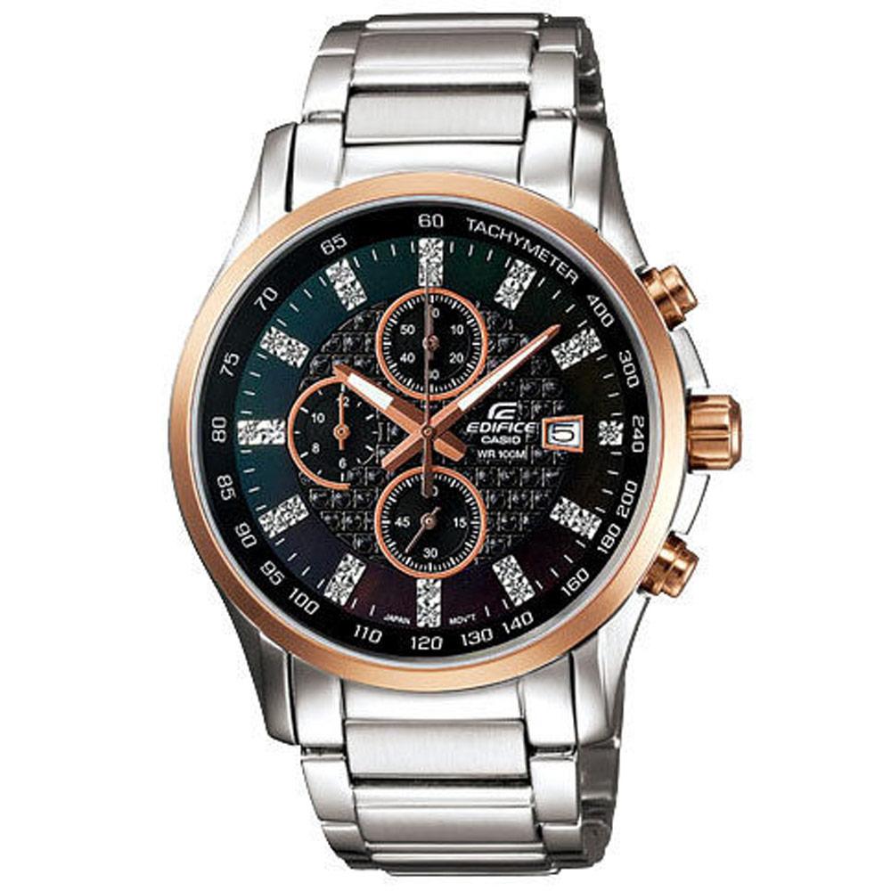 EDIFICE 閃耀時尚都會計時腕錶(黑)-41mm