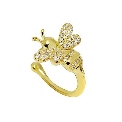 apm MONACO法國精品珠寶 閃耀亮鑽金色蜜蜂造型耳骨夾