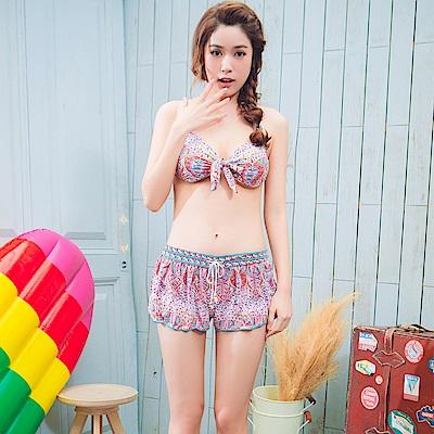 【AngelLuna日本泳裝】波希米亞三件式比基尼泳衣-粉色
