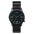 ELECTRIC FW01系列-摩登雅痞風潮腕錶-黑面x黑色帆布帶/藍標/40mm