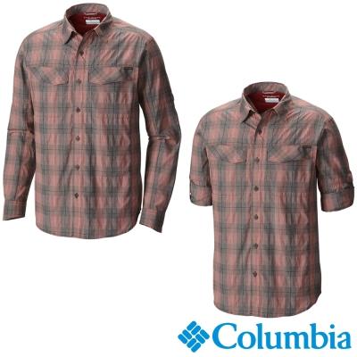 【Columbia哥倫比亞】男-快排防曬30襯衫-橘紅 UAE74410AH