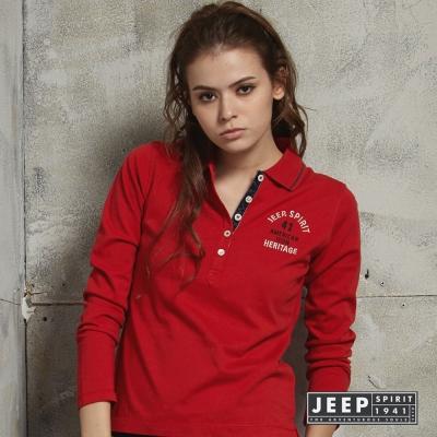 JEEP 女裝美式印花POLO衫 紅色