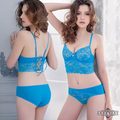 性感內衣 湛藍法式無襯鋼圈成套內衣(B~E罩) Annabery