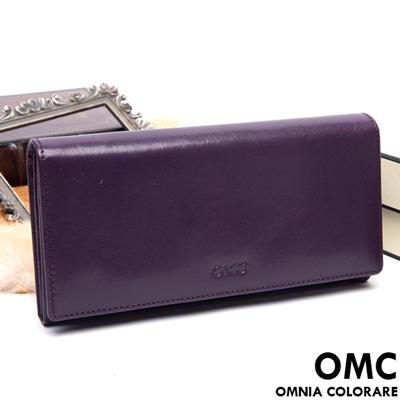 OMC - 原皮魅力系列多層多卡零錢式長夾-神秘紫
