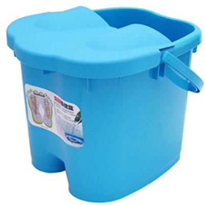 日式加高加蓋6滾輪按摩24公升足浴桶按摩泡腳桶