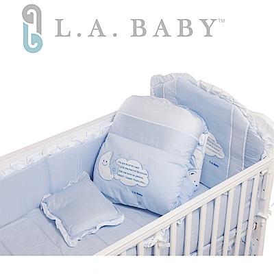 ( 美國 L.A. Baby) 許願星純棉七件式寢具組(L)( 藍色/粉色)
