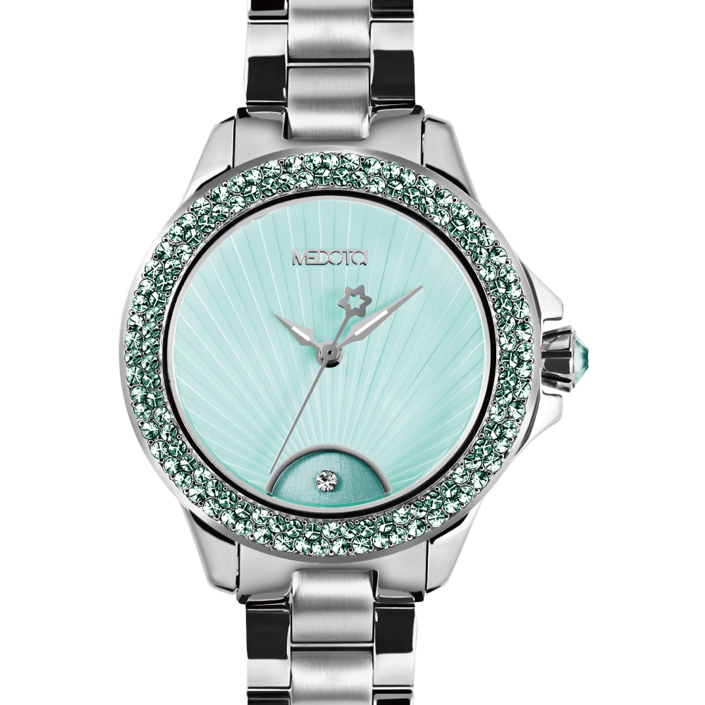 MEDOTA Gratia 雅典系列 優雅光芒晶鑽腕錶-蒂芬妮綠/37mm