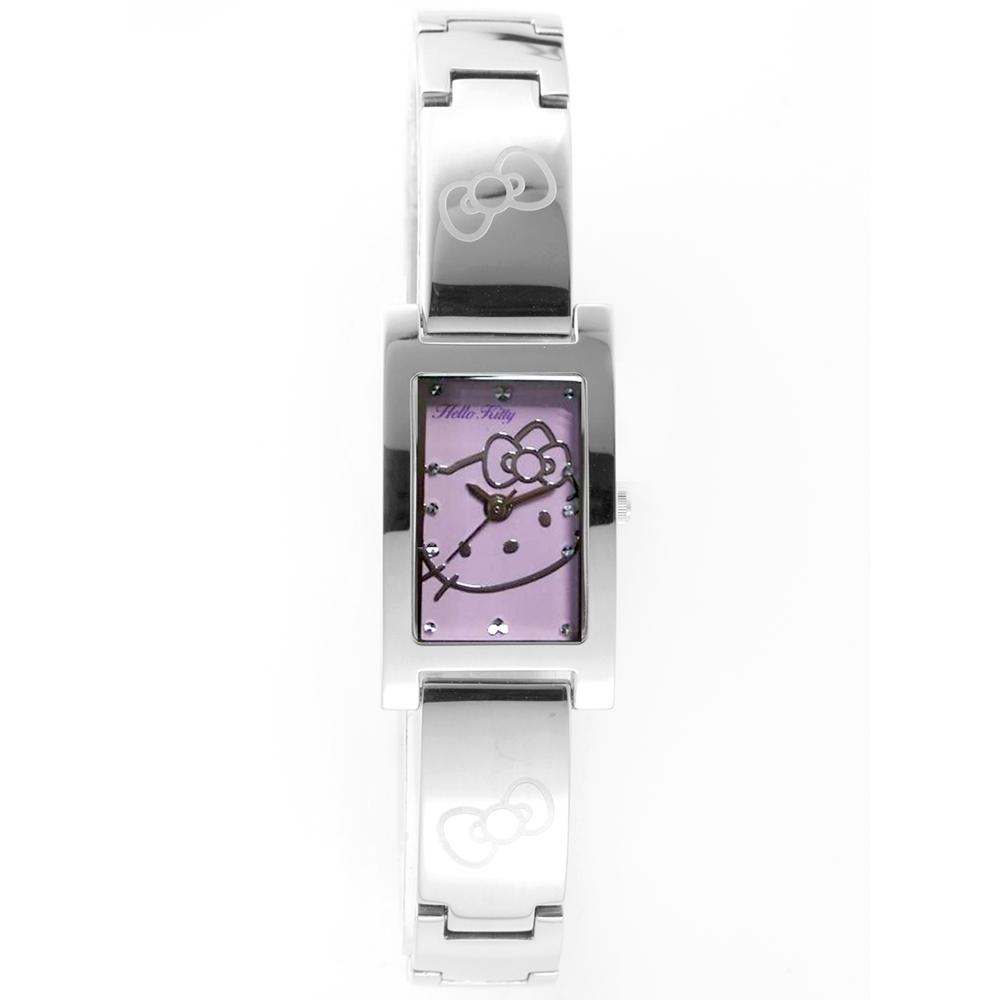 HELLO KITTY 凱蒂貓秀氣質感流行手錶-銀x紫/19mm